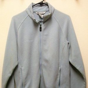 COLUMBIA SOFT BLUE FULL ZIP POCKETED SWEATER